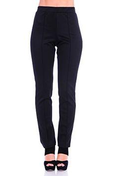 60092d8f30d29 SR Women s Solid Stretch Straight Leg Slim Fit Pants (Size  S – 5X)