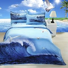 Duvet Cover Set,4-Piece 3d Effect Printed Sea Gull Full Size - USD $ 111.54