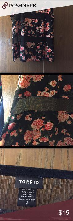 flowery cute short sleeve top super cute worn lightly one time looks great fun sheer strips ! torrid Tops Blouses