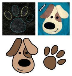 kostenlose Applikationsvorlage von Elbpudel Hund Pfötchen free applique pattern dog