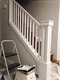 A DIY Oak Banister Makeover: Tutorial And Tips Say goodbye to ugly oak banisters! Find out how we completely transformed our stairway with this inexpensive DIY tutorial. Stair Newel Post, Diy Stair Railing, Staircase Design, Newel Posts, Stair Bannister Ideas, Railings For Stairs, Staircase Ideas, Modern Staircase, Oak Banister