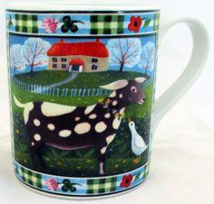 Goat Mug Exclusive Funny & Cute Goat Farm Scene Porcelain Mug Hand Made in UK #RainbowDecorsLtd #ArtDeco
