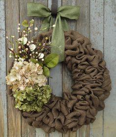 Beige and Green Hydrangea Brown Burlap Wreath, Fall Burlap Wreath, Autumn Burlap Wreath, Fall Hydrangea Wreath, Christmasa Burlap Wreath by WhimsyChicDesigns on Etsy