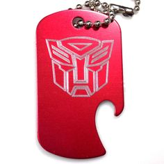 "Autobot Red Key Chain With 4"" Chain Dog Tag Aluminum Bottle Opener EDG-0315"