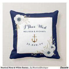 Shop Nautical Navy & White Anemones Ring Bearer Throw Pillow created by NauticalBoutique. Anerican Flag, Military Weddings, White Anemone, Ring Bearer Pillows, Anemones, Wedding Keepsakes, Nautical Wedding, Watercolor Wedding, Ceremony Decorations