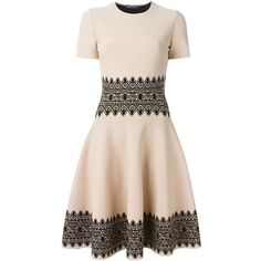 Alexander McQueen lace circle jacquard dress (17,545 CNY) ❤ liked on Polyvore featuring dresses, circle skirt, lacy dress, short sleeve lace dress, circle dress and lace circle skirt