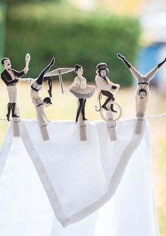 Glam on Wire Clothespins | It's about time you get some entertainment out of your boring chores. These clothespins will give you a spectacular show right on the wire where you leave your laundry to dry.