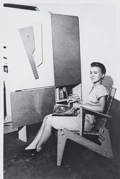 Anne Tyng in 1945 with her furniture designs, Anne Griswold Tyng Collection/Architectural Archives, U. of Penn.