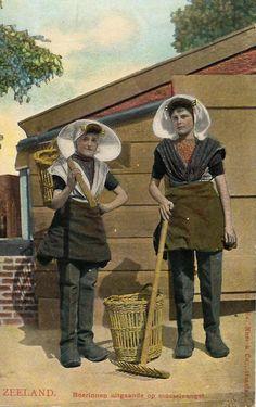 ZEELAND.  Boerinnen uitgaande op mosselvangen (mussel harvest)