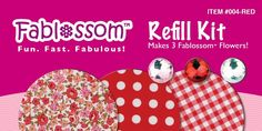 Create beautiful fabric flowers with Fablossom! Refill Kits in Red are available! #Fablossom