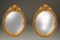 Fabulous pair of mid 19th century gilded portrait frames with mirrors, circa 1850. #antique #mirrors