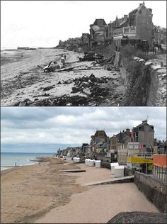 The Beach at St Aubin-sur-Mer, Normandy, 1944 and the same beach today Normandy Ww2, Normandy Beach, Normandy Invasion, World History, World War Ii, Then And Now Photos, Juno Beach, D Day Landings, Historical Pictures