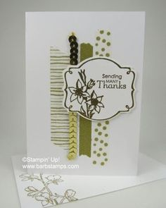 2014 You're Lovely stamp set , embossed the image with Gold Stampin' Emboss Powder and die cut it with the Deco Labels Framelits, Watercolor Wonder Designer Washi Tape and Gold Sequin Trim