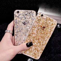 Gold Bling Paillette Glitter Soft TPU Cover Case For iPhone 6 6S Plus 5 5S SE Clear Skin Slim Rubber Back Cover Fundas Para Gel