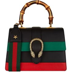 Gucci Small Dionysus Stripe Bamboo Handle Bag featuring polyvore women's fashion bags handbags top handle bags genuine leather handbags bamboo handle purse striped purse handle handbag