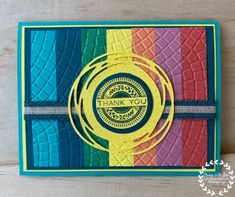 Make Your Own Card, Rainbow Background, Big Shot, Embossing Folder, Stampin Up Cards, Card Ideas, Mosaic, Card Making, 3d