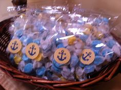 Salt water taffy used for nautical baby shower favor! :)
