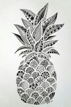 Drawings – Zentangle art – Doodle art – Pineapple art – Doodle drawings – Art drawings – The p Doodle Art Drawing, Zentangle Drawings, Art Drawings Sketches, Drawing Drawing, Doodles Zentangles, Drawing Tips, Easy Drawings, Zentangle Art Ideas, Simple Doodles Drawings