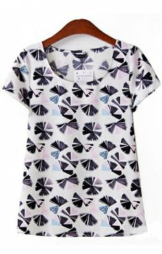 Comfy Abstract Ginko Leaves Floral Print Short Sleeves Chiffon T-shirt! Reminds me of pencil shavings!