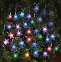 "Color Changing Holiday Star String LED Light Set  #32 w/ 17'4"" cord uses 3 AAA batteries. bought 2 sets"