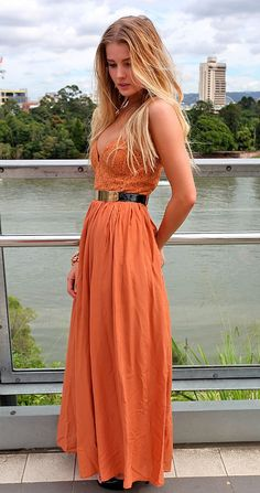 Lace bust maxi dress