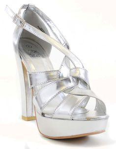 Silver Metallic Anklet Open Toe Platform Sandals Heels Fourever Funky