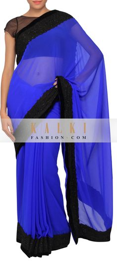 Buy Online from the link below. We ship worldwide (Free Shipping over US$100)   http://www.kalkifashion.com/dazzling-blue-chiffon-saree-with-crochet-lace-border-only-on-kalki.html