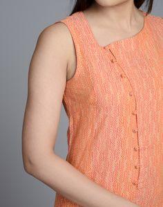 Cotton Asymmetrical Loop Button Slim Fit Long Kurta – Fabindia.com