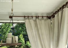 back porch curtains: our vintage home love: Back/Side Porch Ideas For Summer and An Industrial Pipe Curtain Rod How To Diy Outdoor Furniture, Outdoor Rooms, Outdoor Living, Outdoor Decor, Outdoor Balcony, Outdoor Curtains For Patio, Furniture Ideas, Adirondack Furniture, Urban Furniture