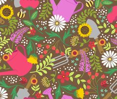 Garden Tools fabric by alissecatherine on Spoonflower - custom fabric
