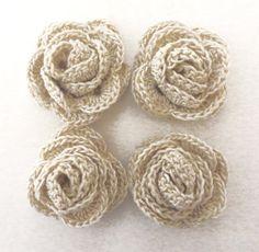 FLOWERS 4 cotton crochet multi layer ecru/off white