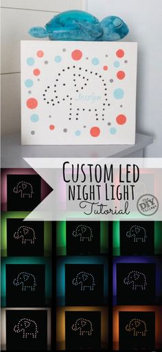 Custom LED Night Light tutorial As a Lowe's Creative Ideas Handyman, this month we're sharing how to create a custom LED night light! Perfect gift for new parents or newborns! Craft Gifts, Diy Gifts, Handmade Gifts, Baby Crafts, Fun Crafts, Deco Led, Lighted Canvas, Led Night Light, Night Lights