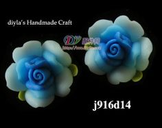 4pcs 14mm Blue Polymer Clay FIMO Flowers for Beads by diyla, $1.80