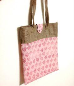 Indian block printed fabric and Jute handbag by Prakriti, Singapore.  #jute #handbags #ethnic #eco