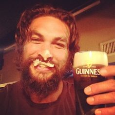 Jason Momoa enjoying his Guinness. Ah. | 15 Times Jason Momoa Was The King Of Instagram