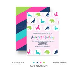 ROAR! Like a fabulous dinosaur! Stylish and fun girls birthday party invitations that are sure to set the tone for her prehistoric celebration. Sassy pink, bright green, bold aqua and navy create a splendid look on this personalized party invite.  Vibrant Dino Girls Party Invitations feature: • Brightly colored dinosaurs • Solid pink design with navy, lime, aqua & hot pink • Personalized for you • Choose printable or printing at checkout  Paper Clever Party invitations and matching paper ...