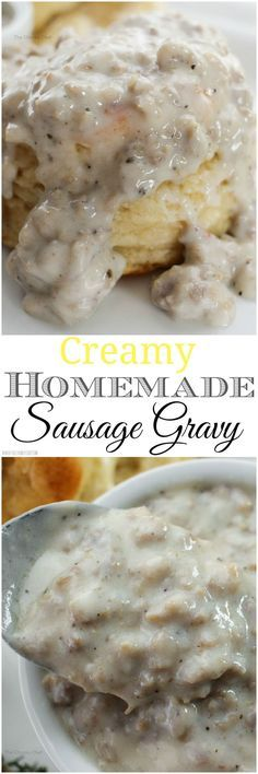 Buttermilk Biscuits and Sausage Gravy - Soft and fluffy buttermilk biscuits, perfectly big yet light at the same time, smothered with a creamy homemade sausage gravy... classic down home cooking!:
