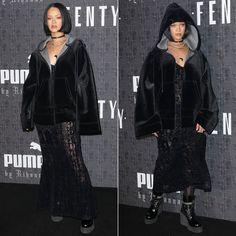 Rihanna Fenty x Puma hoodie, dress, socks and boots, Lynn Ban cross choker at the Fenty x Puma Fall 2016 show