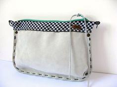 White nubuck clutch or bag / Beyaz nubuk clutch veya kol çantası  www.gigidukkan.com