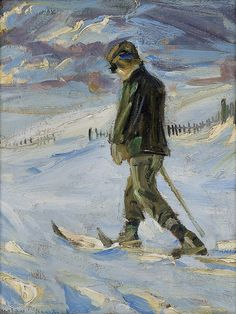Snow telemark or cross country skiing in Norway. Painting by Gustav Wentzel, Norwegian Winter Painting, Winter Art, Lund, Vintage Ski Posters, Nordic Skiing, Retro Images, Ludwig, Winter Scenes, Painting Inspiration