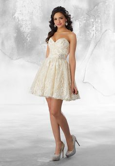 Shop Morilee s Metallic Lace Party Dress with Beaded Appliqué Detail.  Strapless 6c510db726e2