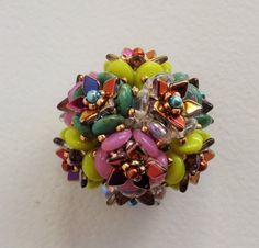 Dragon Scale Beaded Bead by TooTallToBead on Etsy