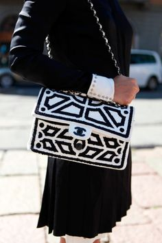 graphic black + white chanel bag.