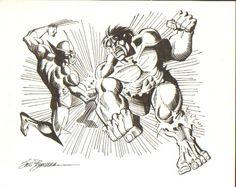 Wolverine vs Hulk by Sal Buscema Comic Drawing, Cartoon Drawings, First Hulk, Hulk Movie, Comic Art, Comic Books, Sal Buscema, Hulk Avengers, Marvel Comics Art