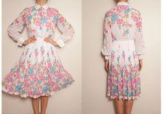 1980s Japanese cotton floral vintage dress,japanese floral tea dress,white vintage floral dress,long sleeve dress,japanese floral sundress, by VintageCosmopolitan on Etsy