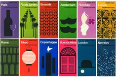 George Tscherny, graphic design for city guides, early 1970s. For Pan Am Airlines. http://www.design-is-fine.org/post/56904153973/george-tscherny-graphic-design-for-city-guides