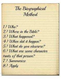 The Biographical Method of Bible Study