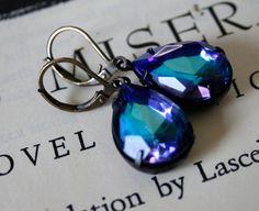 Large Bermuda Blue Rhinestone Jewels in Oxidized by orangejuniper, $32.00
