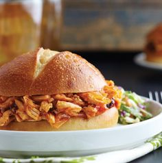 Make the Chipotle Chicken Sandwich filling ahead of time, so all you have to do is reheat it when you get to your tailgate. Serve with a little cole slaw either on top or on the side. So good.