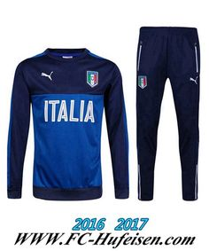 Billige Neue Fussball Trainingsanzug Herren Kits Italien Blau/Schwarz 2016 2017 Thailand